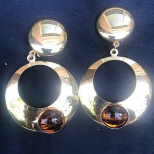 Jewelry - NWOT Vintage 80's large clip on earrings